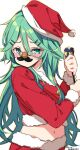 1girl alternate_costume bangs commentary_request fake_facial_hair fake_mustache funny_glasses fur-trimmed_shirt fur_trim glasses green_eyes green_hair hair_between_eyes hair_ornament hairclip hat highres kantai_collection laco_soregashi long_hair looking_at_viewer midriff parted_bangs party_popper red_headwear red_shirt santa_costume santa_hat shirt sidelocks simple_background solo white_background yamakaze_(kantai_collection)