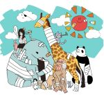 1girl arm_sling bandages bandaid bird black_hair branch cast cat clouds commentary_request dog dot_mouth elephant eyepatch giraffe grey_cat head_bump long_hair manmi monkey mouse original panda penguin rabbit smile snake sun tree