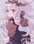 1girl :o bangs bare_shoulders black_bodysuit black_sleeves blush bodysuit detached_sleeves eyebrows_visible_through_hair hair_between_eyes headpiece highres karunabaru long_hair looking_at_viewer medusa_(shingeki_no_bahamut) open_mouth red_eyes shadowverse silver_hair solo very_long_hair