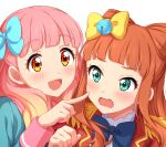 2girls absurdres aikatsu!_(series) aikatsu_friends! aikatsu_on_parade! aikatsu_stars! bangs bell black_bow blonde_hair blue_bow blunt_bangs blush bow bowtie cheek_poking epaulettes gradient_hair green_eyes hair_bow highres jingle_bell long_hair long_sleeves looking_at_another multicolored_hair multiple_girls open_mouth orange_hair pink_hair poking s4_uniform saotome_ako school_uniform sekina simple_background smile upper_body white_background yellow_eyes yuuki_aine