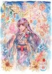 1girl absurdres candy_apple commission commissioner_upload cotton_candy fire_emblem fire_emblem:_the_binding_blade fireworks fish flower food hair_ornament highres japanese_clothes karinpyong kimono long_hair purple_hair solo sophia_(fire_emblem) summer_festival very_long_hair violet_eyes yukata