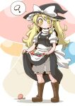 1girl ? apron blonde_hair bloomers boots braid hat holding holding_clothes holding_skirt kirisame_marisa long_hair long_skirt mushroom single_braid skirt smile touhou underwear witch_hat zannen_na_hito