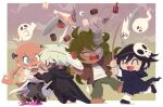 1girl 3boys ^_^ ahoge bandages barefoot belt belt_buckle blue_eyes blush brown_jacket buckle candy chibi cloak closed_eyes commentary_request controller danganronpa eyeball facepaint facial_mark fishing_rod food full_body ghost gokuhara_gonta gradient_sky green_hair hakusoto iruma_miu jacket jewelry keebo labcoat lightning_ahoge long_hair multiple_boys necklace new_danganronpa_v3 open_mouth ouma_kokichi outdoors pants pink_hair plate power_armor purple_hair screw_in_head shirt short_hair silk skull_mask sky smile spider_web tagme unhappy white_hair white_pants white_shirt windowboxed