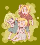 1girl 2boys alphonse_elric annoyed arm_at_side arm_up baby barefoot blonde_hair blue_eyes blush blush_stickers breast_pocket clenched_hands closed_mouth collared_shirt commentary_request dot_nose dress edward_elric eyebrows_visible_through_hair eyelashes frown full_body fullmetal_alchemist green_background green_dress hand_on_own_face hands_up happy hoshino_hitsuki knee_blush leaning leaning_forward looking_at_another lowres multiple_boys nose_blush on_floor open_mouth pocket polka_dot polka_dot_background shiny shiny_hair shirt short_hair short_sleeves shorts simple_background sitting sleeveless sleeveless_dress smile tareme two-tone_background winry_rockbell yellow_background yellow_eyes younger