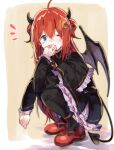 1girl ;) ahoge bangs black_capelet black_dress black_legwear blue_eyes blush brown_background capelet closed_mouth commentary_request crescent crescent_hair_ornament demon_girl demon_horns demon_tail demon_wings double_bun dress eyebrows_visible_through_hair frilled_capelet frilled_dress frilled_sleeves frills full_body grey_wings hair_between_eyes hair_ornament highres horns long_sleeves looking_at_viewer nijisanji notice_lines one_eye_closed pantyhose ramu_(taka1995) red_footwear redhead shoes smile solo squatting tail two_side_up virtual_youtuber wings yuzuki_roa