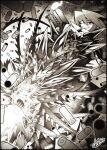 1girl bajou_takurou commission crack dual_wielding firing glowing glowing_eye greyscale grin gun hair_between_eyes hatching_(texture) holding holding_gun holding_weapon long_hair monochrome original sharp_teeth shell_casing signature smile solo spikes teeth weapon