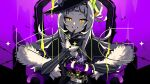 1girl barbed_wire black_capelet black_gloves black_headwear capelet commentary_request crown finger_to_mouth fur-trimmed_capelet fur_trim gloves grey_hair grin hair_bun hat highres hololive king_(vocaloid) long_hair long_sleeves looking_at_viewer murasaki_shion nou_(nounknown) orange_eyes purple_background side_bun smile solo sparkle striped tilted_headwear very_long_hair virtual_youtuber witch_hat