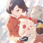 1girl alcremie arm_ribbon bag black_gloves brown_eyes brown_hair closed_mouth commentary_request curry dynamax_band expedition_uniform eyebrows_visible_through_hair eyelashes food fur-trimmed_jacket fur_trim gen_8_pokemon gloria_(pokemon) gloves holding holding_plate holding_spoon jacket on_lap orange_jacket pink_ribbon plate pokemon pokemon_(creature) pokemon_(game) pokemon_on_lap pokemon_swsh ribbon rice short_hair smile spoon tukune white_bag
