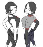 2girls :/ :3 age_comparison bangs bare_shoulders black_hair blue_pants blush breasts capri_pants character_name choker closed_mouth clothes_writing commentary_request crop_top cube_(jet_set_radio) dual_persona earrings fingerless_gloves flame_print from_above from_behind gloves grey_pants grey_shirt greyscale hair_ornament hairclip half-closed_eyes hand_on_hip highres home_(houmei) jet_set_radio jet_set_radio_future jewelry layered_clothing long_sleeves looking_at_viewer looking_back looking_up midriff monochrome multiple_girls multiple_persona pants ponytail shirt short_hair short_over_long_sleeves short_sleeves simple_background sleeveless smile standing stud_earrings swept_bangs symmetry t-shirt turtleneck v-shaped_eyebrows white_background