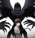 2boys brown_hair closed_mouth collared_shirt death_note evil_smile highres jourd4n looking_at_viewer male_focus multiple_boys necktie open_mouth outstretched_arm ryuk shirt short_hair smile upper_body white_shirt wing_collar yagami_light