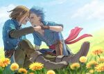 2boys :d blue_eyes blue_hair blue_pants blue_shirt boots brown_pants camus_(dq11) closed_eyes collarbone commentary_request day dragon_quest dragon_quest_xi earrings face-to-face field flower flower_field forehead-to-forehead gloves grin hero_(dq11) jewelry knee_boots looking_at_another male_focus mondi_hl multiple_boys open_mouth outdoors pants shirt sitting sky smile spiky_hair yellow_flower