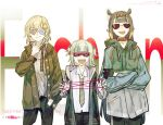 3girls :d alternate_costume cat's_cradle coat collar crossed_arms dress_shirt fang funny_glasses gawr_gura glasses gloves hair_ornament hand_in_pocket hololive hololive_english hood hoodie jacket long_hair monocle_hair_ornament multiple_girls necktie ninomae_ina'nis noedelsgeest open_mouth pants scarf sharp_teeth shirt skin_fang smile sunglasses teeth tentacle_hair two_side_up very_long_hair watson_amelia