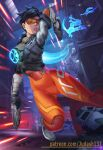 1girl abs armpits arms_up bangs black_hair bodysuit breasts brown_eyes brown_hair clothes collarbone dark_skin dual_wielding earrings fantasy female_focus fighting_stance gloves goggles gun hip_focus holding holding_weapon jacket jewelry judash137 long_legs looking_at_viewer open_mouth overwatch overwatch_2 parted_lips shoes short_hair skin_tight smile sneakers solo spiky_hair standing thighs toned tracer_(overwatch) weapon