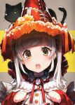 1girl :o absurdres animal_on_head black_cat blue_eyes blush cat cat_on_head flower grey_hair hair_ribbon hat hat_flower highres long_sleeves looking_at_viewer mika_pikazo multicolored multicolored_eyes neck_ribbon on_head open_mouth orange_flower original red_headwear red_neckwear red_ribbon ribbon sleeves_past_wrists solo twintails upper_body witch_hat