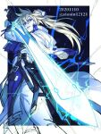 1boy belt black_gloves blonde_hair blue_eyes blue_theme dated electricity english_text gloves glowing glowing_sword glowing_weapon guilty_gear hair_between_eyes holding holding_sword holding_weapon ky_kiske long_hair male_focus parted_lips partially_colored ponytail shin_(sinsin12121) solo sword twitter_username weapon