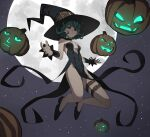 1girl black_dress black_footwear black_headwear closed_mouth dress english_commentary floating full_moon green_eyes green_hair halloween_costume hat highres jourd4n looking_at_viewer moon night night_sky one-punch_man pumpkin sky solo star_(sky) starry_sky tatsumaki witch_costume witch_hat