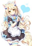 1girl ahoge animal_ears apron bangs bell black_dress blonde_hair blue_bow blue_choker blue_neckwear blush bow breasts cat_ears cat_girl cat_tail center_frills choker commentary_request contrapposto cowboy_shot dress dress_bow eyebrows_visible_through_hair fluffy frilled_apron frilled_dress frills hair_bow hair_ornament hands_up heart heart_hands highres jingle_bell long_hair looking_at_viewer maid mauve medium_breasts orange_eyes original puffy_short_sleeves puffy_sleeves short_sleeves skindentation smile solo tail thigh_strap very_long_hair waist_apron white_apron wrist_cuffs