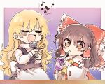 2girls apron back_bow bangs beamed_eighth_notes black_skirt black_vest blonde_hair blue_background blush bow braid brown_hair closed_eyes commentary cravat cup detached_sleeves disposable_cup drinking_glass drinking_straw_in_mouth eighth_note hair_bow hair_tubes hakurei_reimu highres holding holding_microphone karaoke kirisame_marisa long_hair long_sleeves microphone mochi547 multiple_girls music musical_note no_hat no_headwear open_mouth purple_background quarter_note red_bow red_shirt shirt simple_background singing single_braid skirt smile touhou turtleneck upper_body v-shaped_eyebrows vest waist_apron white_bow white_shirt wide_sleeves yellow_neckwear