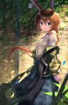 1girl absurdres amiya_(arknights) animal_ears arknights belt blue_eyes blush breasts brown_hair ear_piercing green_jacket hair_between_eyes highres inflatable_toy jacket large_breasts long_hair long_ponytail long_skirt looking_at_viewer open_mouth outdoors piercing rabbit_ears shirt sidelocks skirt solo standing taku57 white_shirt