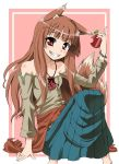 apple apples bare_shoulders brown_hair food fruit holding holding_fruit holo long_hair red_eyes spice_and_wolf tsukino_kitsune wolf_ears