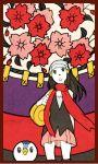 bag beanie bookbag border brown_eyes brown_hair card card_(medium) flower hanafuda hat hikari_(pokemon) lowres piplup pokemon scarf skirt