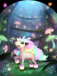 commentary_request flower galarian_form galarian_ponyta gen_7_pokemon gen_8_pokemon glowing gonzarez grass highres leg_up looking_up morelull mushroom nature no_humans open_mouth pink_flower pokemon pokemon_(creature) shiinotic sky sparkle standing_on_three_legs star_(sky) star_(symbol) starry_sky tree unicorn
