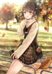 1girl autumn autumn_leaves bag bangs blurry blurry_background blush braid brown_eyes brown_hair brown_skirt can canned_coffee chocho_(homelessfox) cowboy_shot day depth_of_field eyebrows_visible_through_hair falling_leaves hair_ribbon handbag holding holding_can leaf lens_flare long_sleeves looking_at_viewer mandrake original outdoors park plaid plaid_skirt pom_pom_(clothes) railing ribbon short_hair shoulder_bag sitting_on_railing skirt sleeves_past_wrists sweater yellow_ribbon yellow_sweater