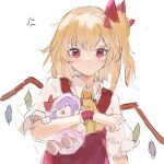 1girl anger_vein angry arm_holding ascot blonde_hair blush bow character_doll closed_mouth crystal doll flandre_scarlet hair_bow highres holding holding_doll looking_at_viewer medium_hair one_side_up patchouli_knowledge pout puffy_short_sleeves puffy_sleeves red_bow red_eyes red_vest reset shirt short_sleeves simple_background sketch solo tears touhou upper_body v-shaped_eyebrows vest white_background white_shirt wings wrist_cuffs yellow_neckwear