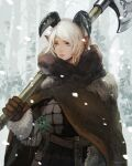 1girl armor axe belt brown_gloves closed_mouth fur_trim gloves herb holding holding_axe holding_weapon horns muraicchi_(momocchi) original outdoors over_shoulder plant pointy_ears short_hair signature snow snowing solo tree violet_eyes weapon weapon_over_shoulder white_hair winter winter_clothes