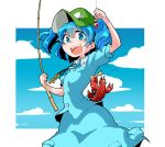 1girl blue_background blue_eyes blue_hair blue_shirt blue_skirt clouds commentary_request cowboy_shot crayfish fishing_rod green_headwear hair_bobbles hair_ornament hand_up holding holding_fishing_rod kawashiro_nitori key looking_at_viewer open_mouth shinapuu shirt short_hair short_sleeves skirt smile solo touhou two_side_up