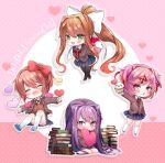 4girls :d ^_^ arms_behind_back bangs between_legs black_legwear blue_skirt blue_sky blush book book_stack bow brown_hair chibi closed_eyes commentary copyright_name cupcake doki_doki_literature_club doughnut eyebrows_visible_through_hair facing_viewer fang food green_eyes hair_between_eyes hair_bow hair_ornament hair_ribbon hairclip hand_between_legs heart highres jacket kneehighs long_hair looking_at_viewer monika_(doki_doki_literature_club) multiple_girls natsuki_(doki_doki_literature_club) open_clothes open_jacket open_mouth outstretched_arm outstretched_arms pink_eyes pink_hair pleated_skirt ponytail purple_hair red_bow red_ribbon ribbon sayori_(doki_doki_literature_club) school_uniform short_hair sidelocks sitting skin_fang skirt sky smile spread_arms swept_bangs thigh-highs touko_56 twitter_username two_side_up v_arms very_long_hair violet_eyes white_legwear white_ribbon yuri_(doki_doki_literature_club)
