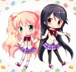 2girls :o bangs black_legwear blazer blush bow bowtie chibi closed_mouth collared_shirt commentary_request eyebrows_visible_through_hair food food_themed_background green_eyes hair_between_eyes hairband holding_hand holding_hands jacket long_hair long_sleeves looking_at_viewer macaron multiple_girls open_mouth ouji_kanade oumi_neneha pantyhose pink_hair pleated_skirt purple_hairband purple_skirt red_bow red_eyes red_footwear school_uniform shiny shiny_hair shirt skirt skirt_hold smile socks soga_tsukihi straight_hair twintails very_long_hair watashi_no_chiisana_ohime-sama. wavy_hair white_legwear white_shirt