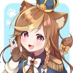 1girl :3 :d animal_ear_fluff animal_ears animal_print armor bangs black_gloves bow braid brown_hair commission crown eyebrows_visible_through_hair fang fingerless_gloves fingernails gloves hazumi_aileen highres indie_virtual_youtuber jewelry light_blue_background long_hair looking_at_viewer mixed-language_commentary multicolored multicolored_eyes multicolored_hair open_hand open_mouth pauldrons paw_print red_nails shoulder_armor smile solo sorata_reon swept_bangs tail tail_bow two-tone_hair violet_eyes virtual_youtuber yellow_bow