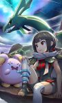 1girl bangs black_hair black_shirt blunt_bangs breasts clouds commentary_request covered_navel dragon gen_3_pokemon glowing glowing_eyes gonzarez grey_cloak highres legendary_pokemon looking_up medium_breasts mega_stone one_knee open_mouth parted_lips pokemon pokemon_(creature) pokemon_(game) pokemon_oras rayquaza red_eyes shirt short_hair short_shorts shorts sitting sky sleeveless sleeveless_shirt smile space star_(sky) starry_sky wavy_mouth whismur zinnia_(pokemon)