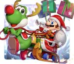 1boy :d antlers bell belt blue_eyes border brown_hair christmas commentary_request facial_hair fake_antlers fake_nose fur-trimmed_jacket fur_trim gift gloves gonzarez hat holding holding_sack jacket jingle_bell long_sleeves looking_at_viewer mario mario_(series) mario_kart mario_kart_tour mustache open_mouth pants pom_pom_(clothes) pulling red_footwear red_headwear red_jacket red_pants reindeer_antlers reins sack santa_costume santa_hat shoes short_hair sitting sleigh smile snowflakes star_(symbol) upper_teeth white_border white_gloves yoshi