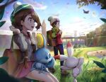 1boy 1girl :d backpack bag bangs beanie blue_pants bob_cut brown_bag brown_eyes brown_hair building cable_knit cardigan clouds collared_dress commentary_request corviknight cramorant drednaw dress floating_hair flower flying gen_8_pokemon gloria_(pokemon) gonzarez gossifleur grass green_headwear grey_cardigan grey_footwear grey_headwear hand_up hat holding_strap hooded_cardigan lens_flare light_rays long_sleeves looking_back on_lap on_shoulder open_mouth pants pink_dress pokemon pokemon_(creature) pokemon_(game) pokemon_on_lap pokemon_on_shoulder pokemon_swsh red_shirt scorbunny shirt shoes short_hair sitting sky sleeves_rolled_up smile sobble standing standing_on_one_leg starter_pokemon_trio sunbeam sunlight swept_bangs tam_o'_shanter tree upper_teeth victor_(pokemon) water wind wooloo yamper