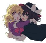 2girls black_capelet black_hair blonde_hair blush brown_eyes capelet collared_shirt fedora hands_on_another's_shoulders hat hat_ribbon long_hair maribel_hearn multicolored multicolored_eyes multiple_girls neckwear open_mouth re_ghotion red_neckwear ribbon shadow shirt short_hair simple_background sleeve_cuffs touhou usami_renko white_background white_shirt