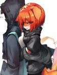 1boy 1girl absurdres animal_ears animal_nose arknights black_jacket crownslayer_(arknights) doctor_(arknights) furrification furry hair_ornament hairclip highres hug hug_from_behind jacket long_sleeves orange_eyes redhead short_hair simple_background tab_head tail tail_wagging white_background