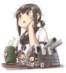 3girls black_hair blue_sailor_collar broom bucket chibi commentary_request cup dress fairy_(kantai_collection) fubuki_(kantai_collection) hat jewelry kantai_collection karasu_(naoshow357) low_ponytail machinery multiple_girls ponytail ring sailor_collar sailor_dress sailor_hat school_uniform serafuku shirayuki_(kantai_collection) short_hair short_ponytail sidelocks simple_background skirt teacup turret wedding_band white_dress white_headwear