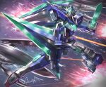 00_qan[t] amasaki_yusuke artist_name dual_wielding els explosion flying glowing glowing_eyes green_eyes gundam gundam_00 gundam_00_a_wakening_of_the_trailblazer holding holding_sword holding_weapon laser looking_at_viewer mecha no_humans solo_focus space sword v-fin weapon
