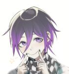 1boy alternate_hair_length alternate_hairstyle bangs black_hair black_nails checkered checkered_scarf closed_mouth danganronpa finger_to_mouth grey_background hair_between_eyes highres index_finger_raised kyandii looking_at_viewer male_focus nail_polish new_danganronpa_v3 ouma_kokichi purple_hair scarf short_hair simple_background sketch smile solo star_(symbol) upper_body violet_eyes white_background