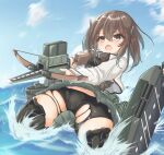 1girl bike_shorts black_shorts blue_sky bow_(weapon) breastplate brown_eyes brown_hair clouds commentary_request crossbow grey_skirt headband headgear kantai_collection kasashi_(kasasi008) machinery shorts shorts_under_skirt skirt sky solo splashing taihou_(kantai_collection) torn_clothes water weapon