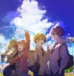 2boys 2girls :d :o absurdres amusement_park arm_up bag balloon bangs black_jacket black_neckwear blonde_hair blue_hair blue_skirt cardigan clenched_hand closed_eyes clouds collared_shirt dress_shirt facing_another ferris_wheel fist_pump grey_shirt grey_skirt hands_in_pockets hayama highres jacket kamishiro_rui kusanagi_nene locked_arms looking_at_another low_twintails multicolored_hair multiple_boys multiple_girls neckerchief necktie ootori_emu open_cardigan open_clothes open_mouth orange_eyes pants pink_cardigan pink_hair plaid plaid_skirt pleated_skirt project_sekai purple_hair red_neckwear roller_coaster sailor_collar school_bag school_uniform serafuku shirt short_hair sidelocks skirt sky smile streaked_hair sweater teeth tenma_tsukasa twintails white_shirt yellow_sweater