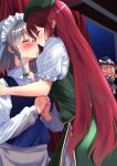 3girls black_headwear blonde_hair blush bow braid closed_eyes collarbone commentary_request face-to-face facing_another green_bow hair_bow hands_together hat hat_bow highres hong_meiling imminent_kiss izayoi_sakuya kirisame_marisa long_hair maid_headdress mukkushi multiple_girls puckered_lips redhead silver_hair touhou twin_braids very_long_hair white_bow witch_hat yuri