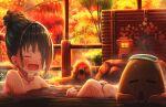 1girl abo_(kawatasyunnnosukesabu) autumn bathing black_hair closed_eyes commentary hair_bun highres monkey nail_polish onsen open_mouth original outdoors sweat towel towel_on_head wet