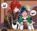 2boys alcohol bangs beer beer_mug black_gloves black_hair blue_hair blurry blurry_background blush braid chiroron closed_eyes collared_shirt cup diluc_(genshin_impact) drunk eyebrows_visible_through_hair flower foam genshin_impact gloves gradient_hair green_headwear gun hair_between_eyes hair_flower hair_ornament hand_on_another's_shoulder hat heart highres holding holding_gun holding_weapon jacket jewelry long_hair long_sleeves mug multicolored_hair multiple_boys open_mouth otoko_no_ko ponytail red_eyes redhead ribbon shirt smile speech_bubble twin_braids venti_(genshin_impact) weapon