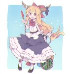 1girl bangs black_footwear blonde_hair blue_background blue_dress bow bowtie bright_pupils chain commentary cosmicmind cube dress fang food fruit full_body hair_bow hand_up holding horn_ornament horn_ribbon horns ibuki_suika long_hair looking_at_viewer popsicle purple_ribbon pyramid red_bow red_eyes red_neckwear ribbon shirt shoes sleeveless sleeveless_shirt smile socks touhou watermelon watermelon_bar white_legwear white_pupils white_shirt wrist_cuffs