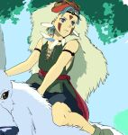 1boy bare_arms blue_eyes blue_hair camus_(dq11) cape closed_mouth commentary_request cosplay dragon_quest dragon_quest_xi earrings facepaint facial_mark grey_fur jewelry looking_to_the_side male_focus mondi_hl mononoke_hime necklace riding san san_(cosplay) serious shoes short_hair skirt solo tree wolf