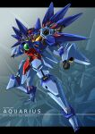 altronage character_name clenched_hand english_text floating glowing glowing_eyes gundam gundam_build_divers gundam_build_divers_re:rise highres leg_up mecha no_humans open_hand orange_eyes original solo v-fin zoom_layer