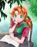 1girl breasts chinyan closed_mouth curly_hair dragon_quest dragon_quest_vii dress green_eyes hood long_hair looking_at_viewer maribel_(dq7) orange_hair smile solo